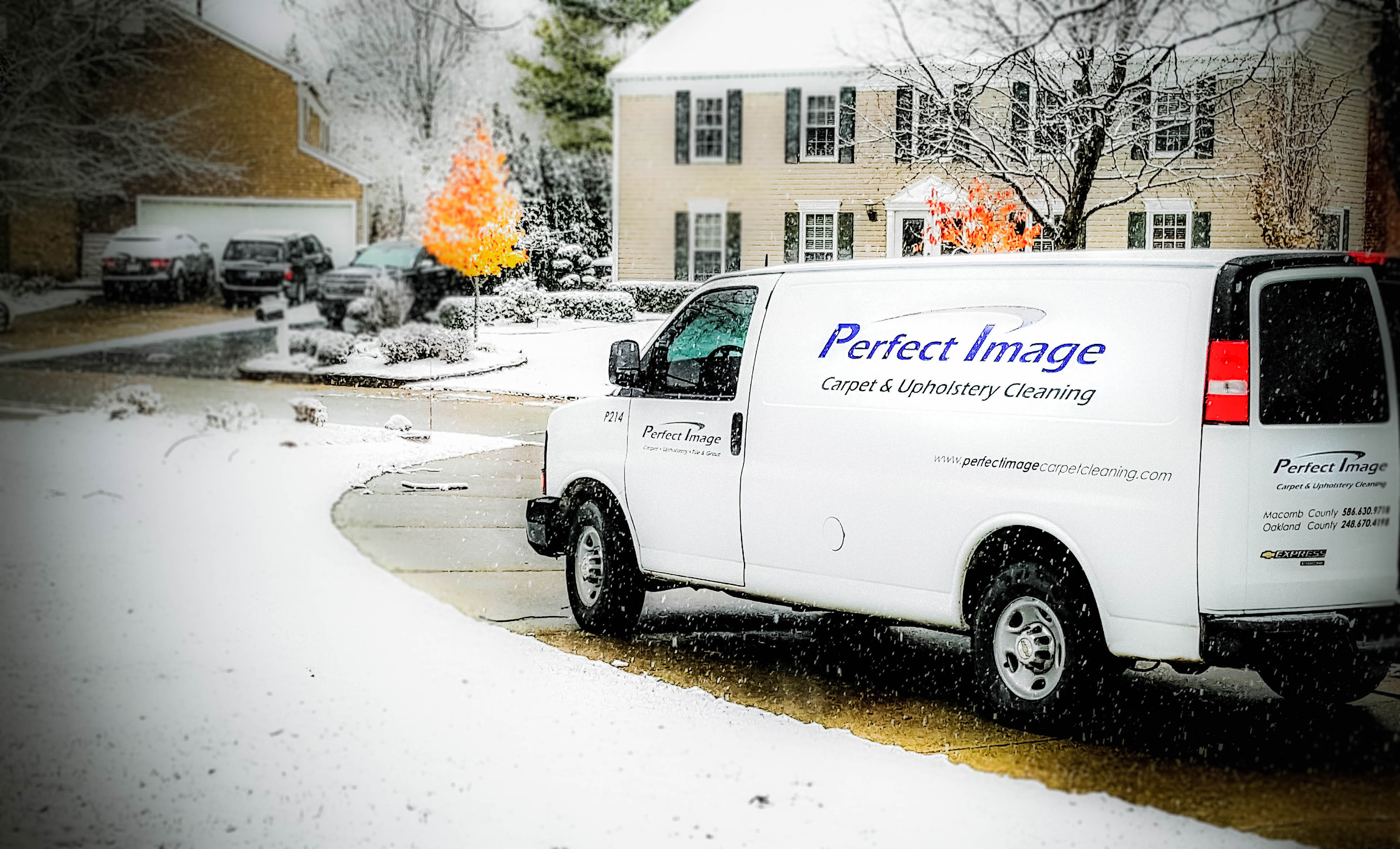 Carpet Cleaning Truck In Driveway