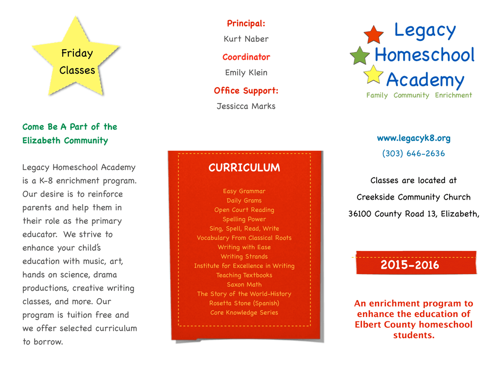 Legacy Homeschool Academy Brochure 2015