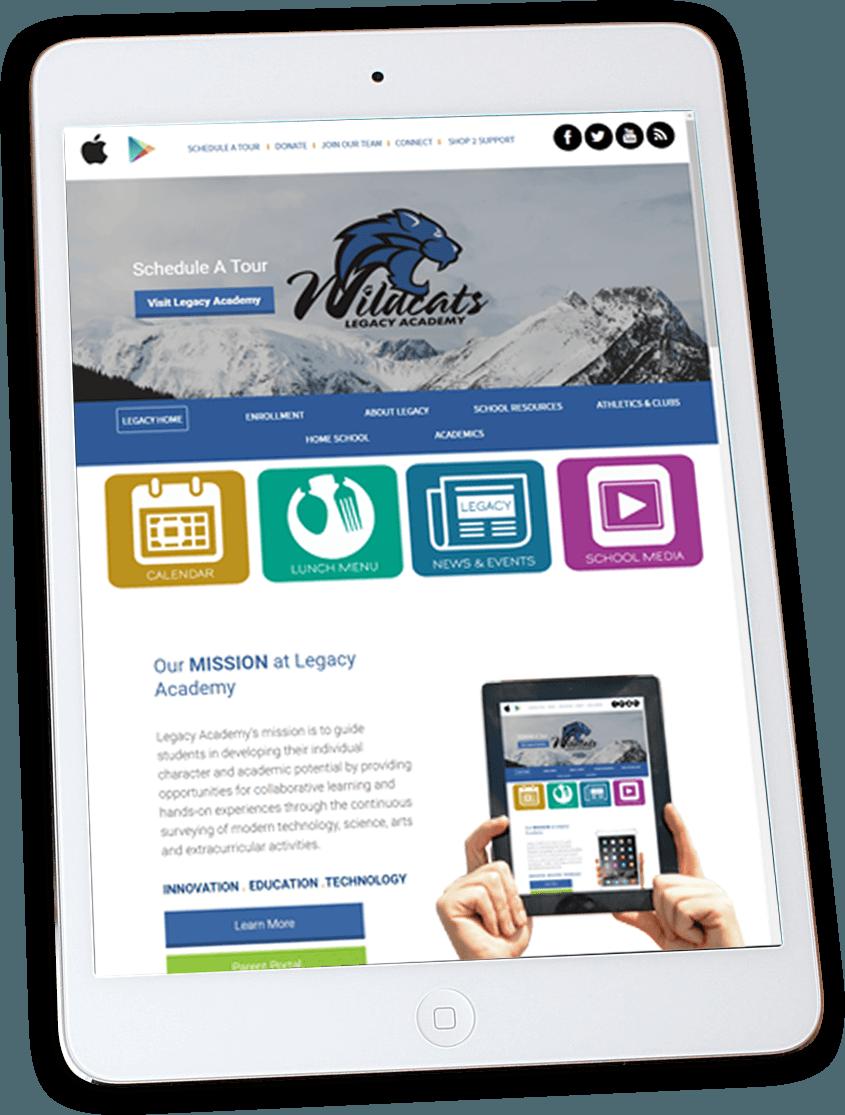 Legacy Academy website on an iPad