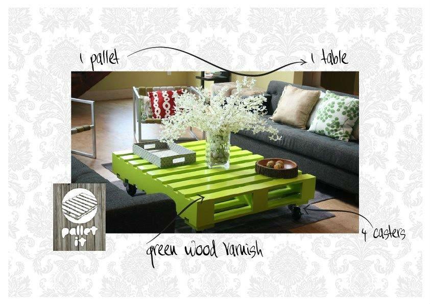 un tavolino verde fatto con un pallet in un salotto con un divano