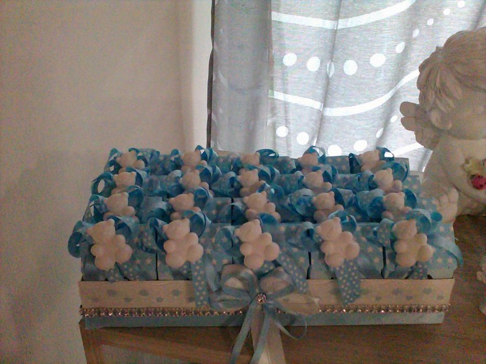 bomboniere azzurre per la nascita di un bambino