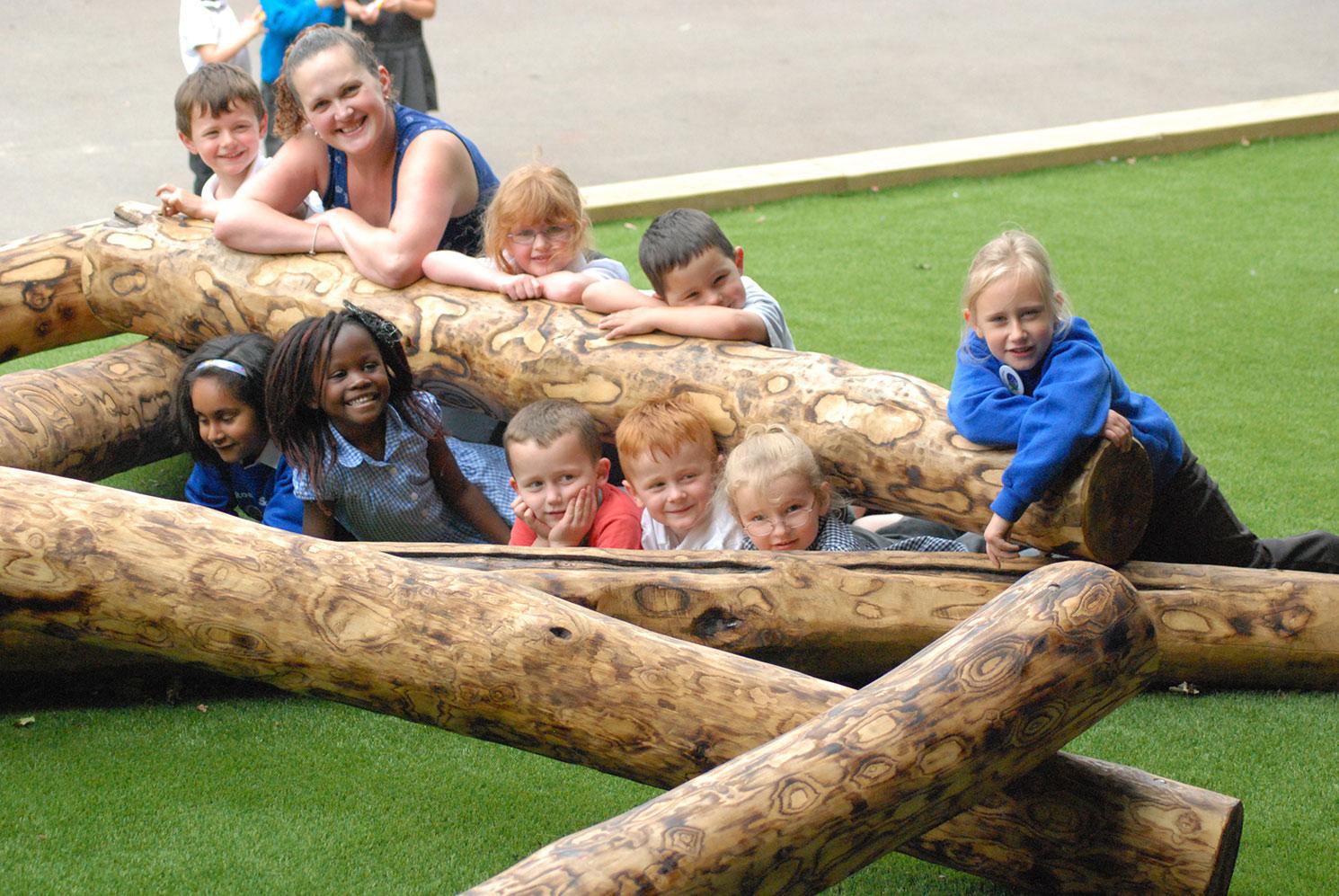 View of children having fun