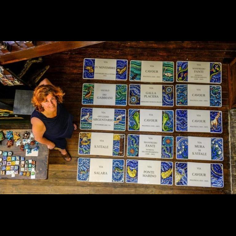 targhe smaltate in ceramica arte bizantina Annafietta