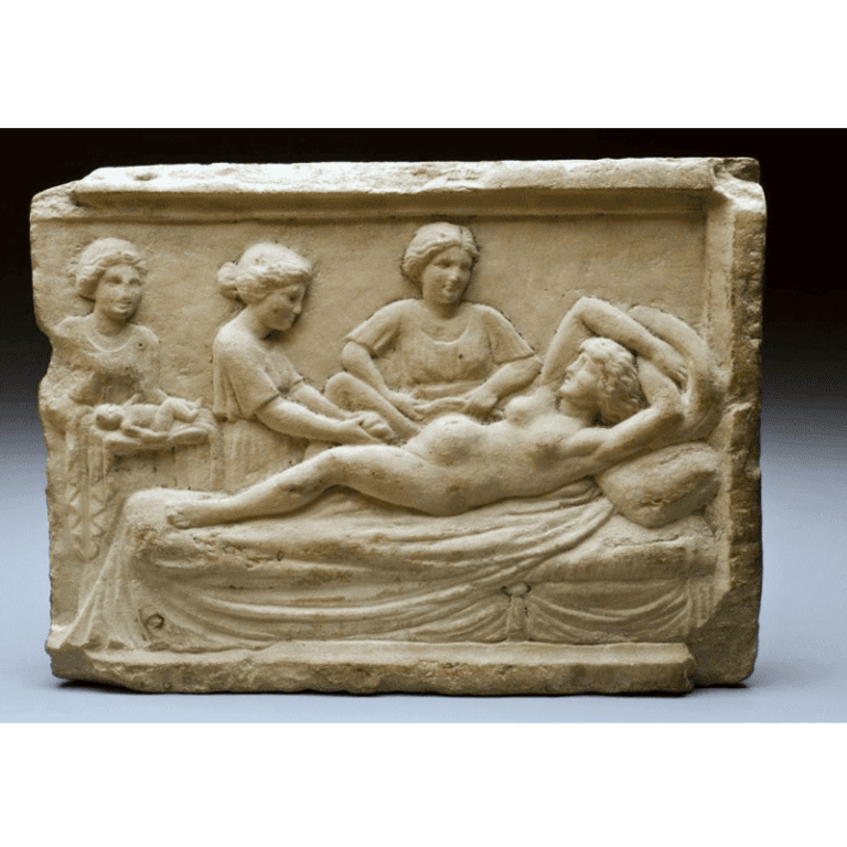 bas-relief of woman in labour