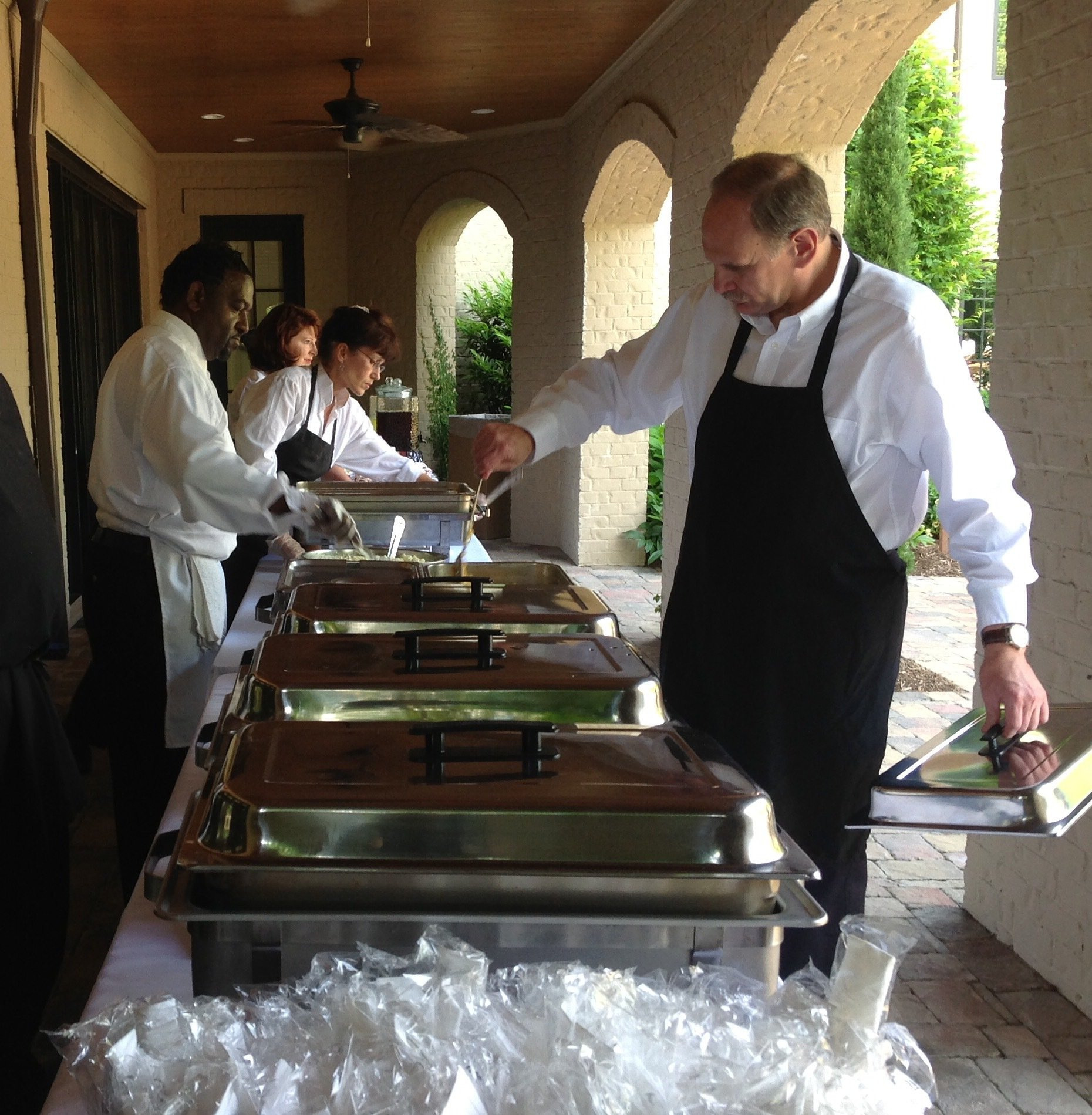 Carter brothers's staff organizing the catering in High Point, NC