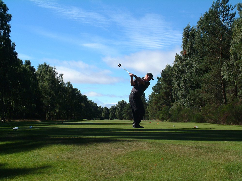 Individual playing golf at the scottish golf course in Blairgowrie