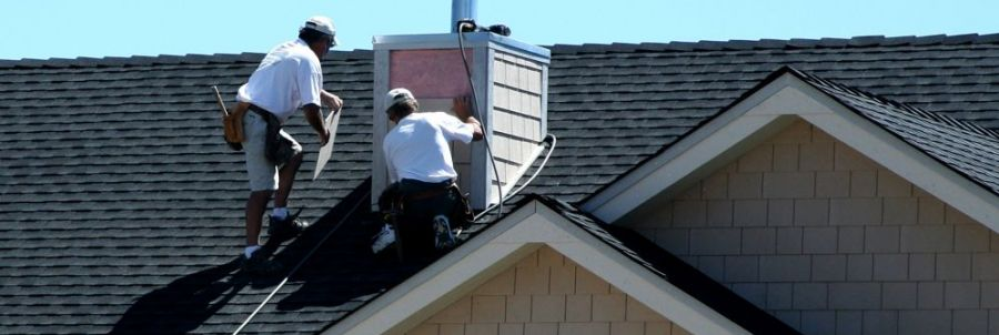 Roof repairs being performed in Fairbanks, AK