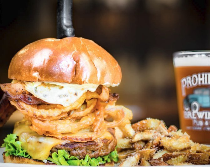 signature burger and beer at prohibition brewing vista ca