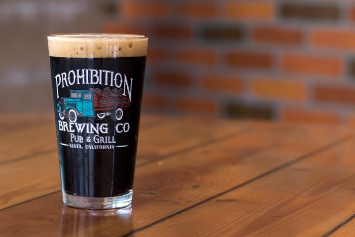 chocolate oatmeal stout pint at prohibition brewing co in vista ca