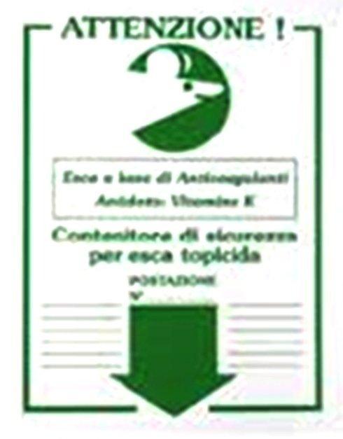 Cartellino indicatore presenza erogatore di esca topicida