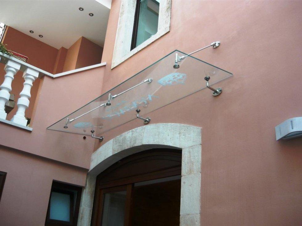 tettoia con vetro isolante