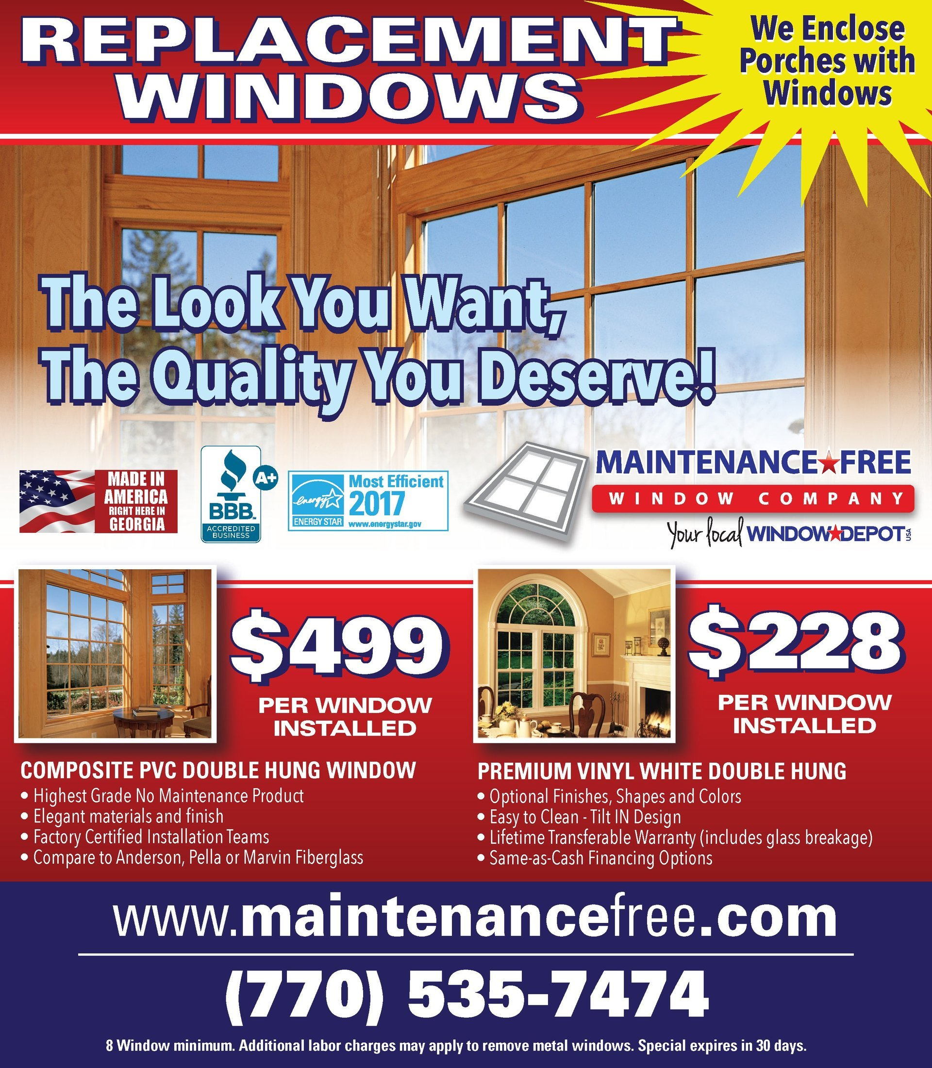 Maintenance Free Window Company  – Window Special
