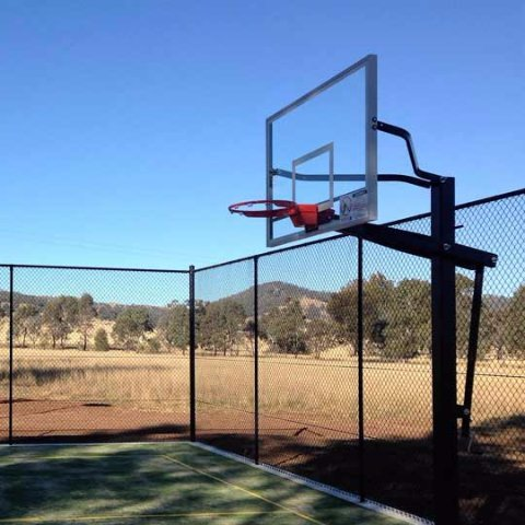 basketball court with fencing