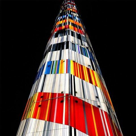 Der Ascent Tower in Lincoln, USA. Blick von unten.