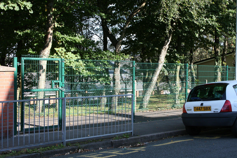 Steel blue green fence