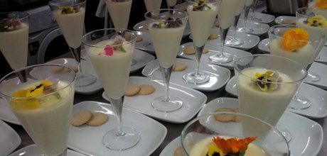 dessert served win a fancy glass