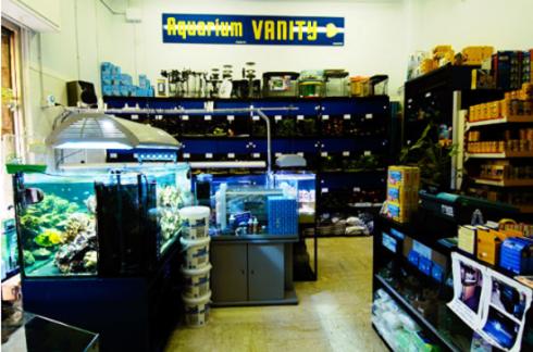 vista frontale del negozio Aquarium Vanity