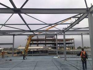 View of the metal fabrication done on the project site