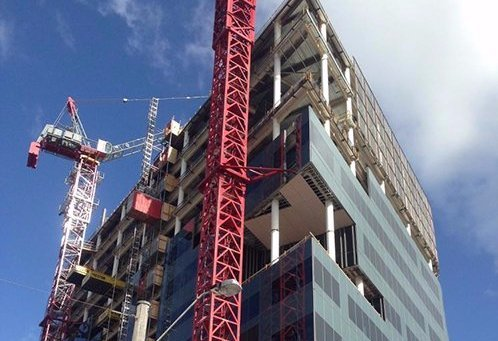 Metal framework being installed in the under construction building