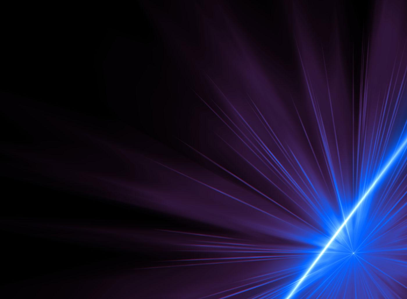 View of blue laser light