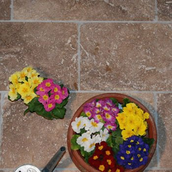 un pavimento di pietra color sabbia e dei vasi con dei fiori