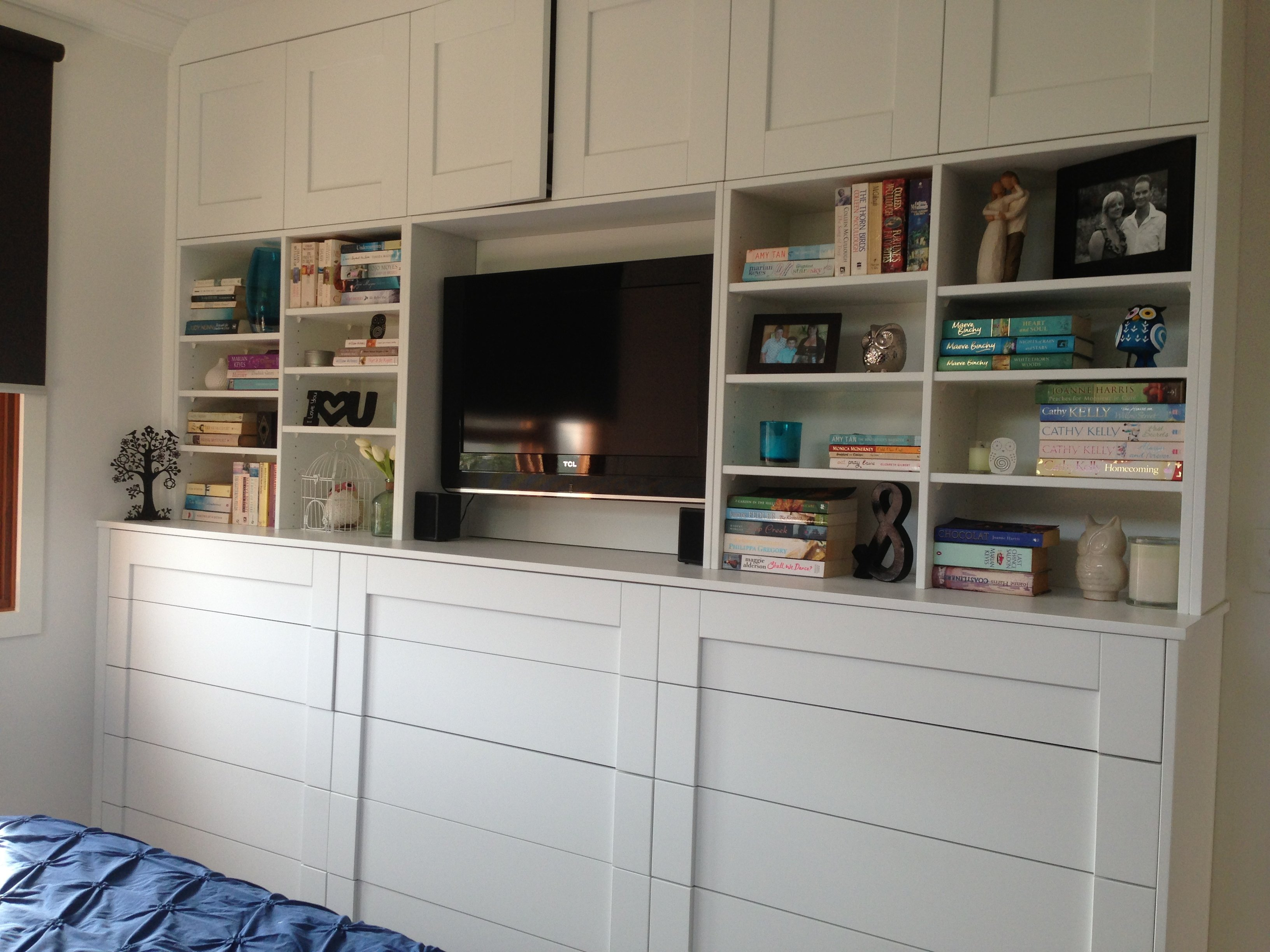 Bedroom entertainment unit with drawers