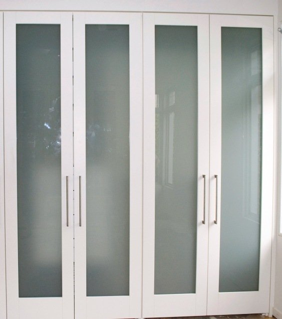 Wardrobe doors with glass inserts