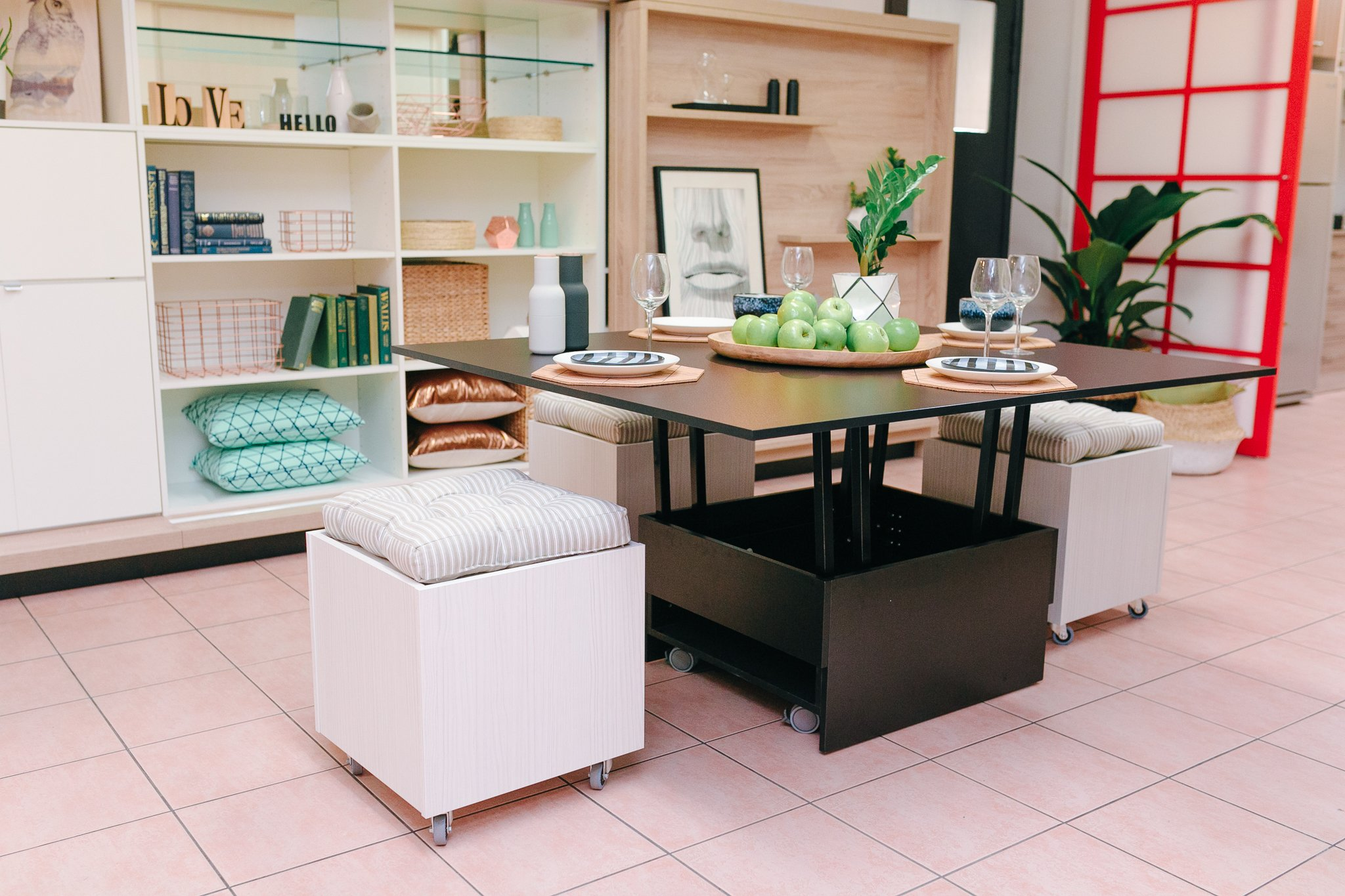 Transforming furniture pull up dining table