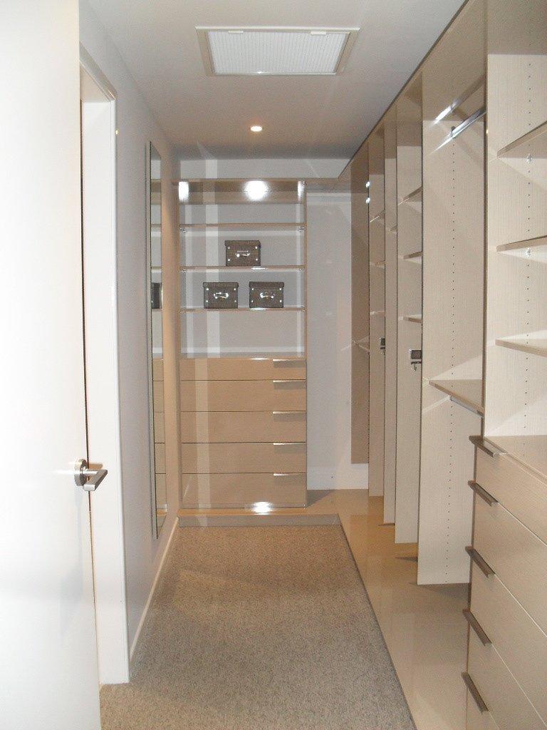 Walk in wardrobe with flooring