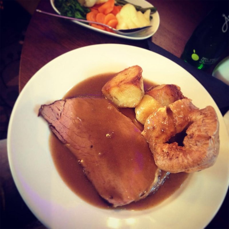 Roast beef, roast potatoes, Yorkshire pudding and gravy