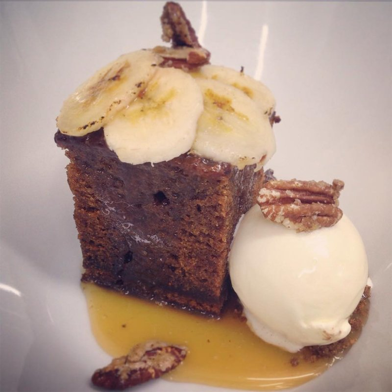 Chocolate banana brownie with ice cream