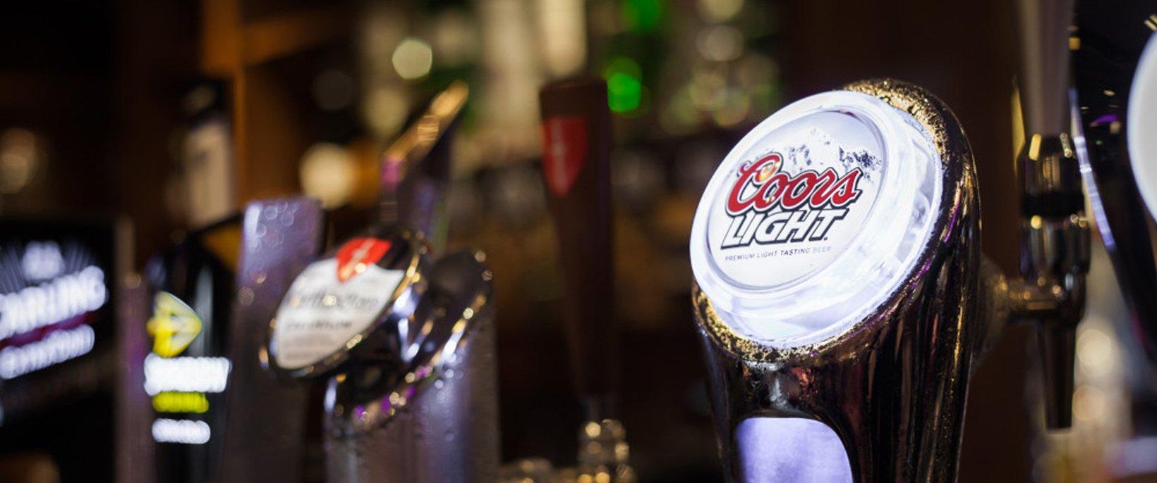 A Coors Light beer pump