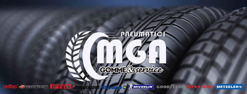 un'immagine con dei pneumatici e il logo al centro con scritto Pneumatici MGA Gomme & Service