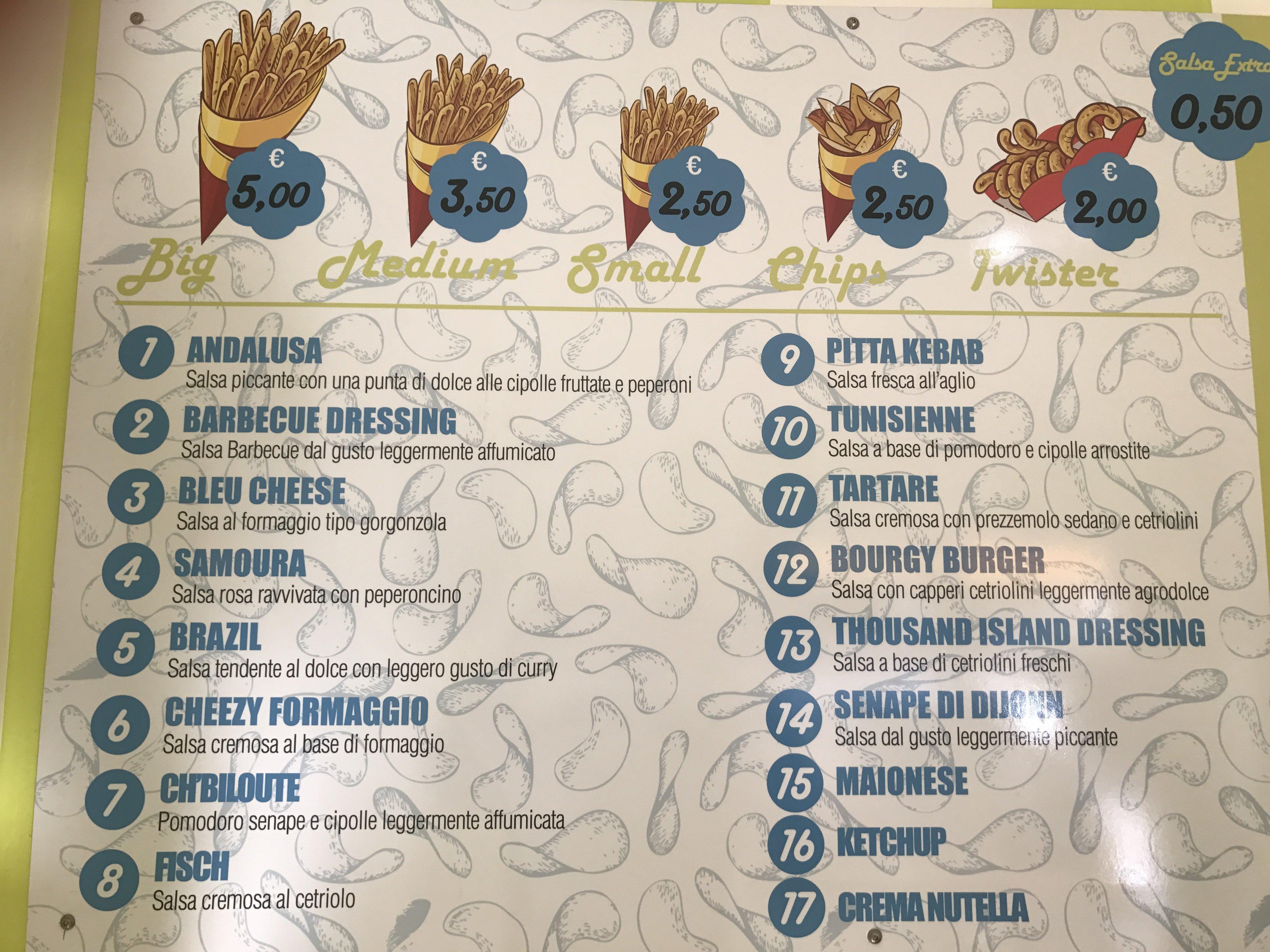 menu per le patatine presso Chips World