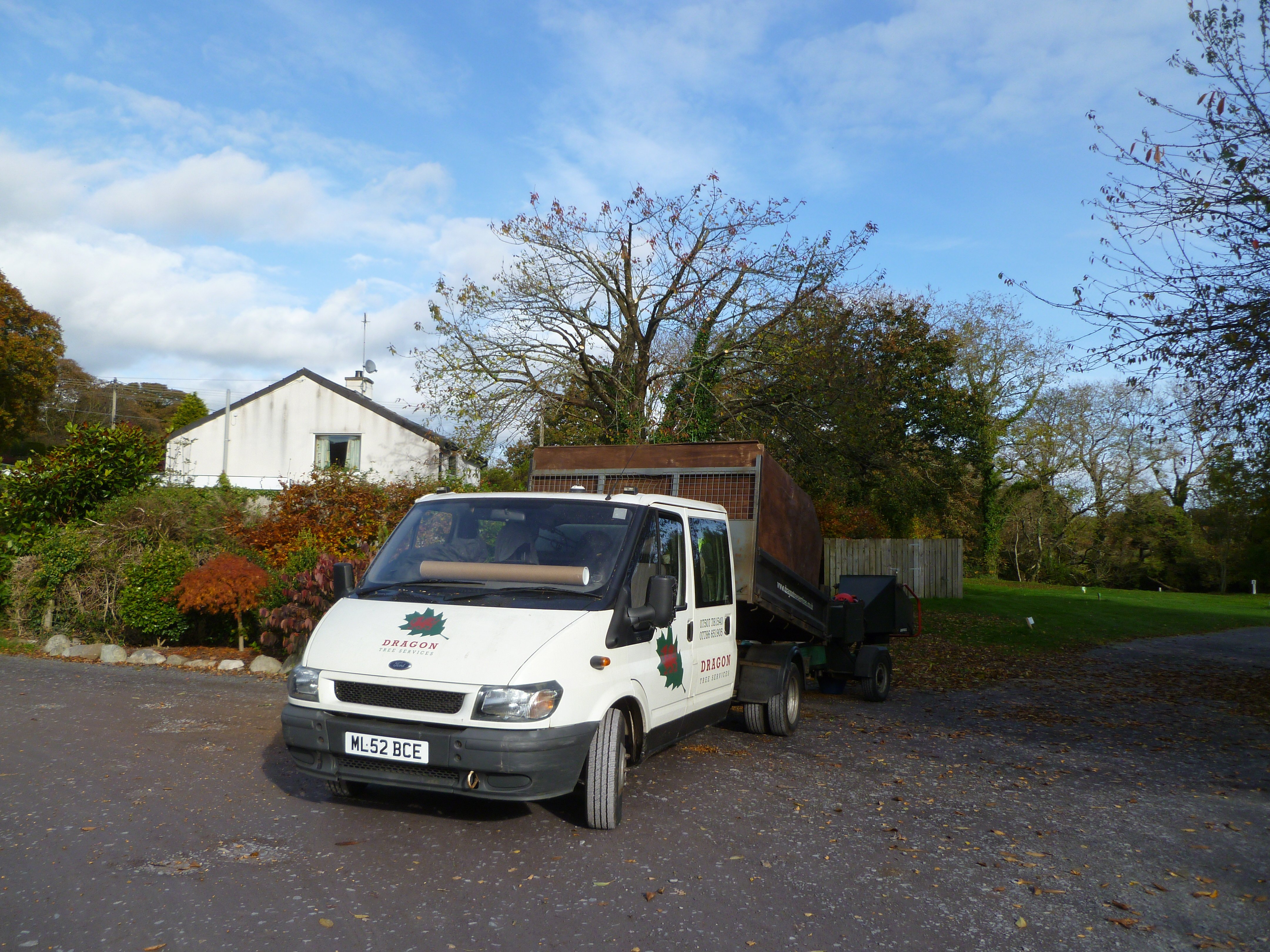 Had to include the end photo complete with Dragon Tree Services van after completing the crown reduction.