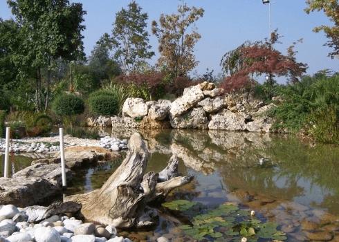 giardino con laghetto