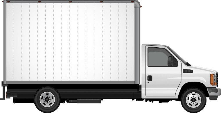 white moving truck facing right