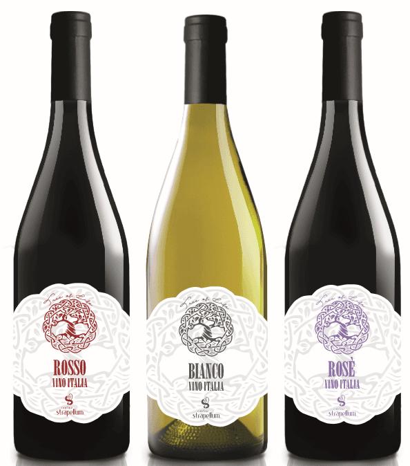 bottiglie di vino rosso, bianco e rosè