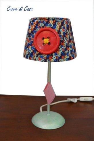lampada, paralume, cameretta, bottone, cucito