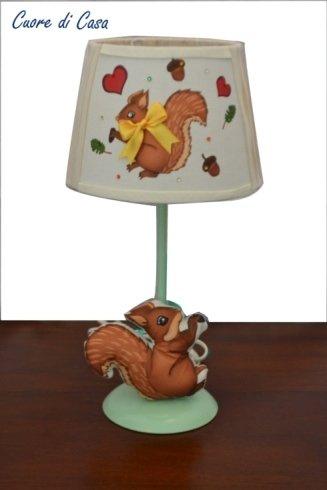 lampada, paralume, cameretta, scoiattolo
