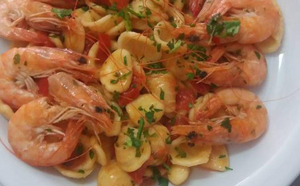 gamberoni con pasta
