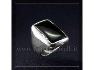anello argento onice