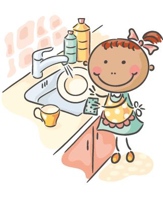Girl washing pots