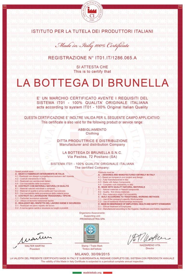 certificazione brunella