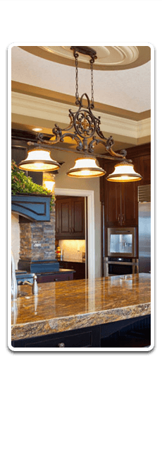 Feature hanging light in a kitchen