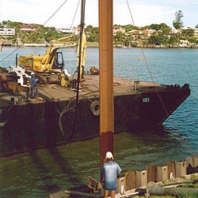 steel pile barge