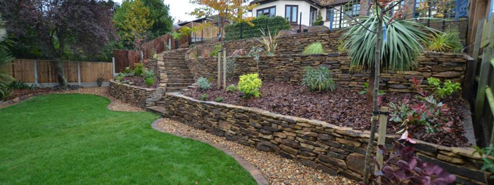 garden with rock walls