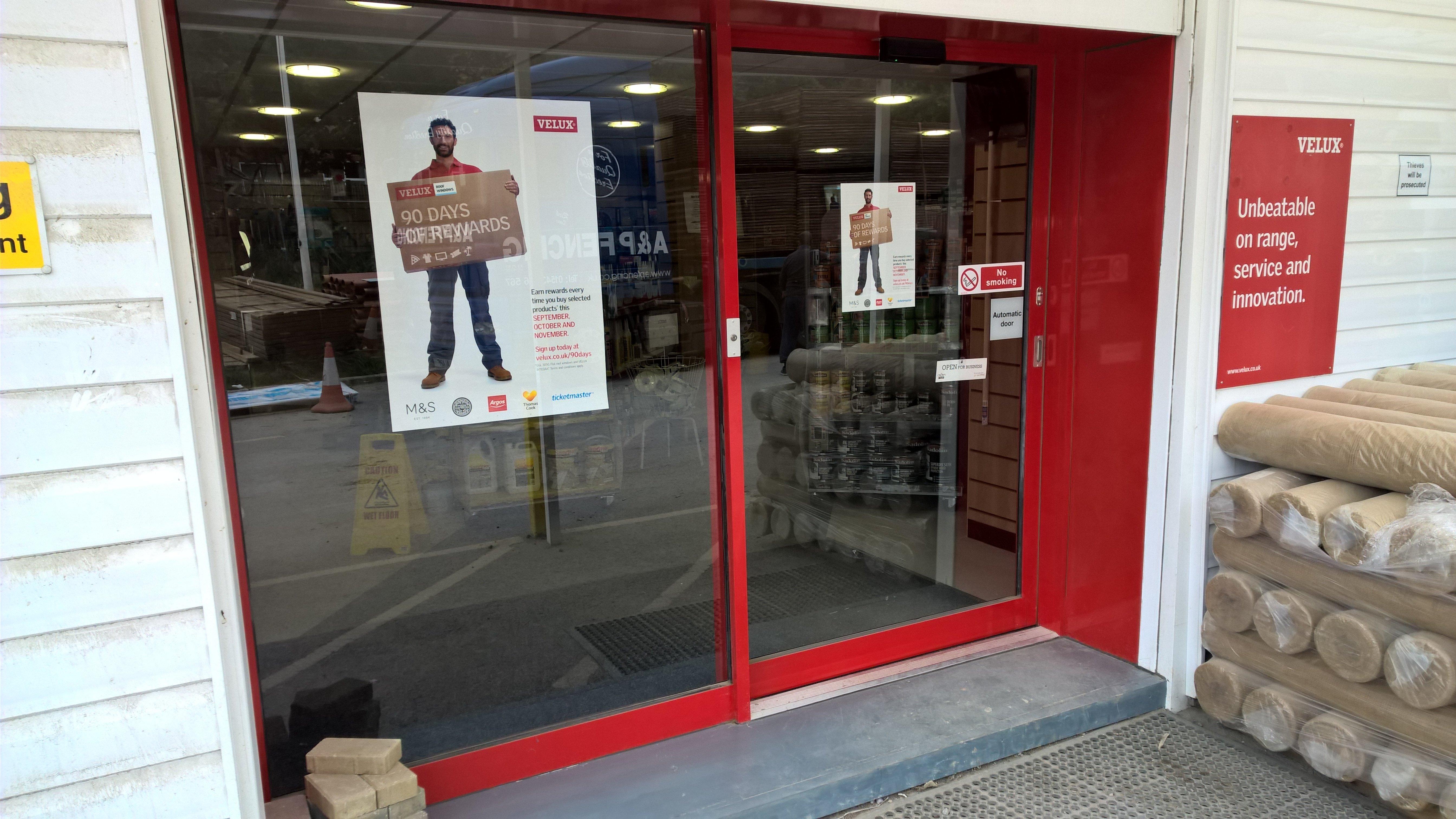 red shop door