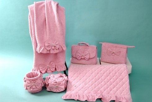 Set bagno in spugna rosa