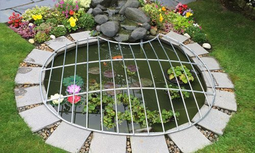 Metal pond covers available at metalcrafts for Garden pond netting cover